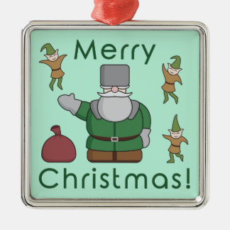 Merry Christmas Santa Claus and Elves Silver-Colored Square Decoration