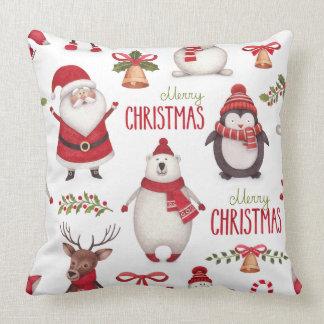 Merry Christmas Santa Claus And Friends Cushion