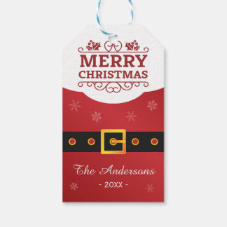 Merry Christmas Santa Claus Belt Happy Holiday Gift Tags
