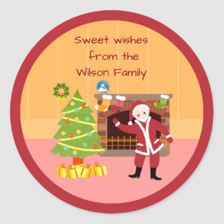 Merry Christmas Santa Claus Classic Round Sticker