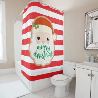 Merry Christmas | Santa Claus Cookie Shower Curtain