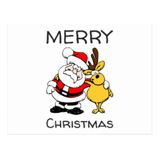 Merry Christmas Santa Claus Reindeer Hug Postcard