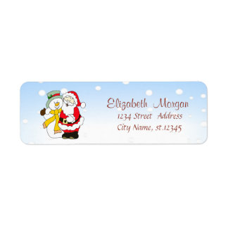 Merry Christmas,Santa Claus,Snowman Return Address Label