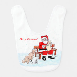Merry Christmas! - Santa Claus with Cat and Dog Bib