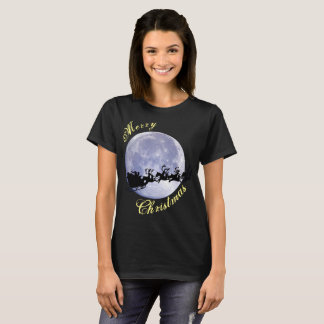 Merry Christmas Santa Clause Moon Xmas eve Holiday T-Shirt