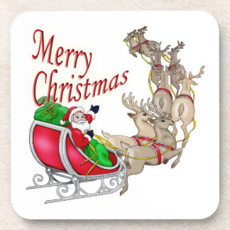 Merry Christmas Santa Drink Coaster