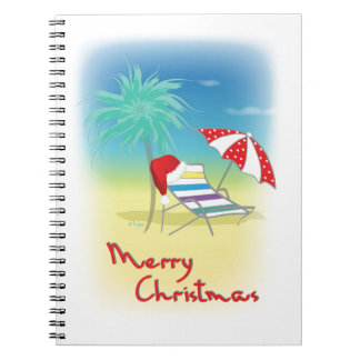Merry Christmas, Santa Hat, Palm Tree, Beach Spiral Notebook