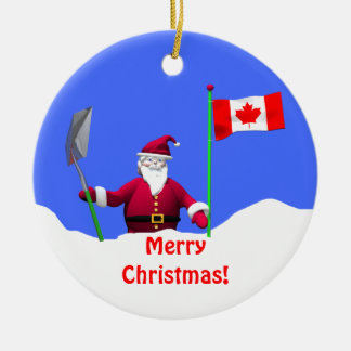 Merry Christmas Santa in Canada Ceramic Ornament