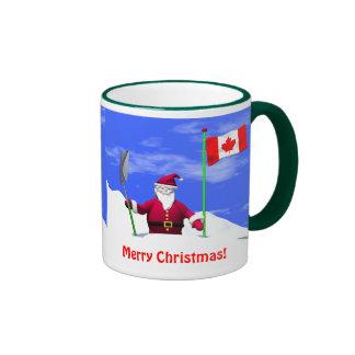 Merry Christmas Santa in Canada Ringer Coffee Mug
