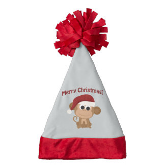 Merry Christmas Santa Monkey Santa Hat