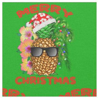 Merry Christmas Santa Pineapple Fabric