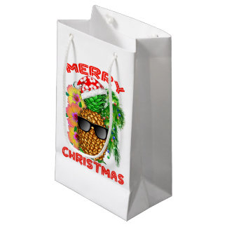 Merry Christmas Santa Pineapple Small Gift Bag