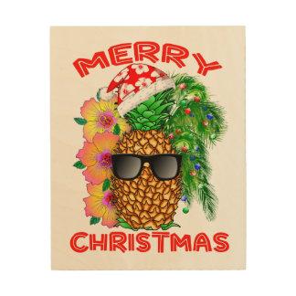 Merry Christmas Santa Pineapple Wood Print