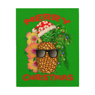Merry Christmas Santa Pineapple Wood Wall Decor