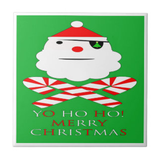 merry christmas santa pirate small square tile