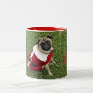 MERRY CHRISTMAS SANTA PUG Two-Tone COFFEE MUG