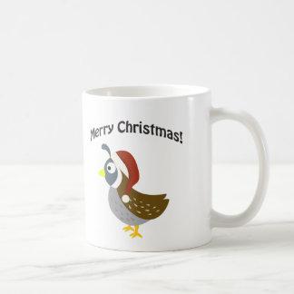 Merry Christmas! Santa Quail Basic White Mug