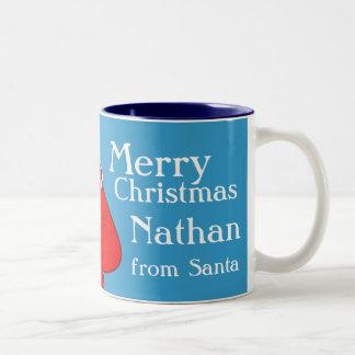 Merry Christmas Santa red/blue boys mug
