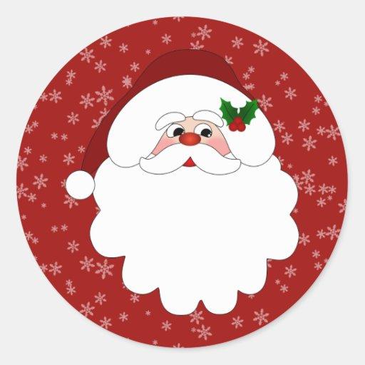 Merry Christmas Santa Classic Round Sticker | Zazzle