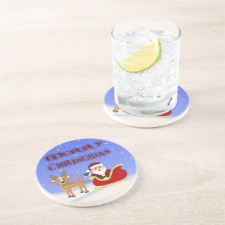 Merry Christmas Santa Sandstone Drink Coaster