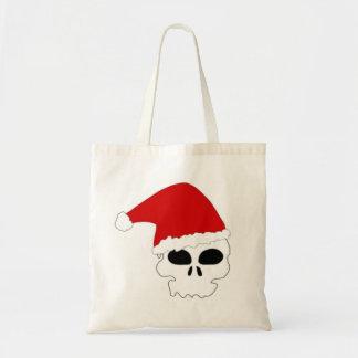 MERRY CHRISTMAS SANTA SKULL HEAD TOTE BAG