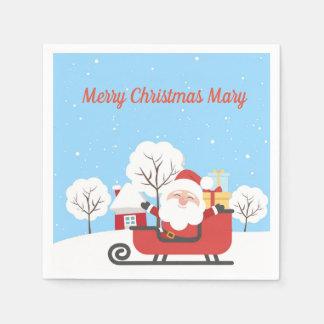 Merry Christmas santa sleigh cocktail napkins Paper Serviettes