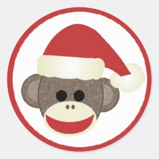 Merry Christmas Santa Sock Monkey sticker