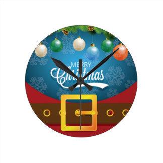 Merry Christmas Santa Suit Round Clock