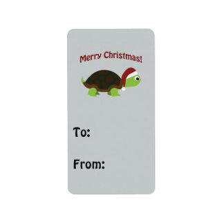 Merry Christmas! Santa Turtle Address Label