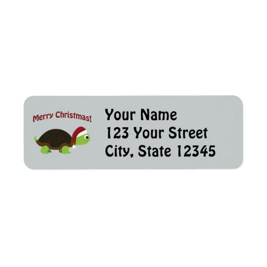 Merry Christmas! Santa Turtle Return Address Label
