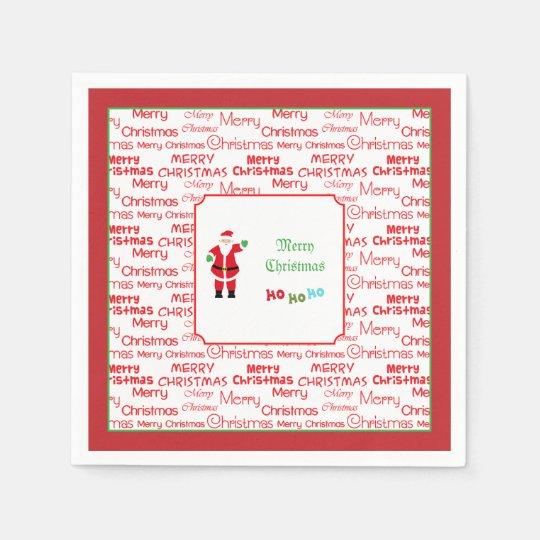 Merry Christmas Santa Waving Paper Napkins