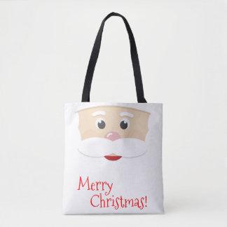 Merry Christmas Santa with Snowflakes Tote Bag