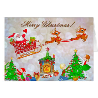 Merry Christmas Santa's Sleigh Greeting Card