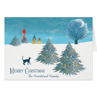 Merry Christmas Scene Card with a Cat