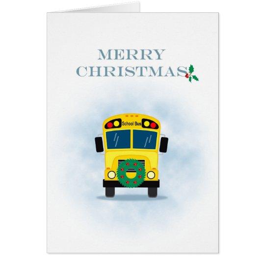 Merry christmas school bus driver card zazzle