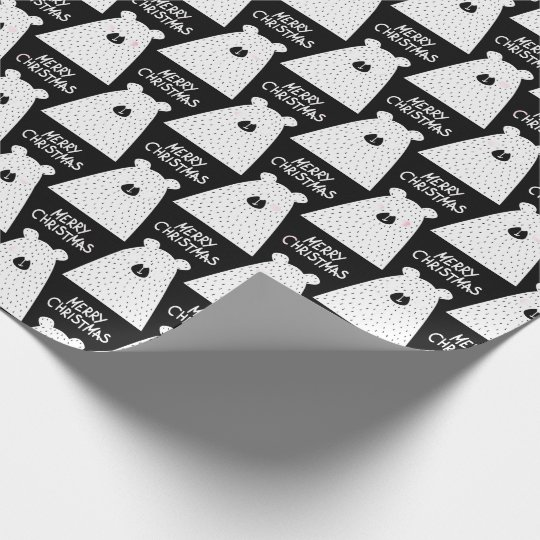 Merry Christmas Script Bear White Black Rose Fancy Wrapping Paper