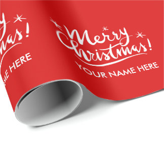 Merry Christmas script hand lettering custom red Wrapping Paper