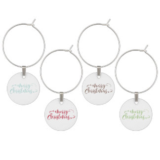 Merry Christmas Script in Blue, Green, Brown & Red Wine Charm