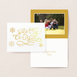 Merry Christmas script snowflakes photo gold Foil Card