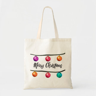 Merry Christmas script Watercolor Ornaments Tote Bag