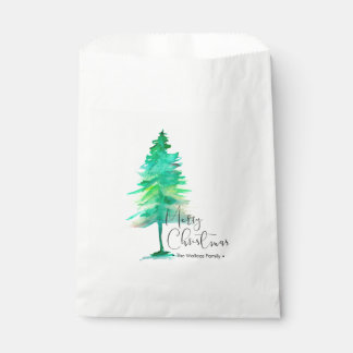 Merry Christmas Script, Watercolor Pine Favour Bag