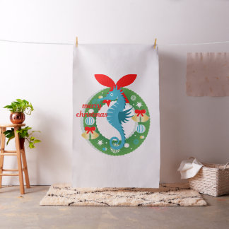 merry christmas seahorse fabric