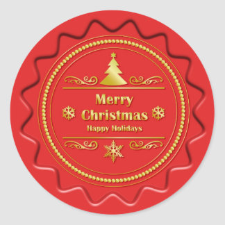 Merry Christmas Seal Round Sticker