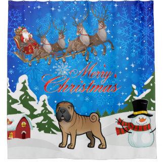 Merry Christmas Shar Pei Shower Curtain