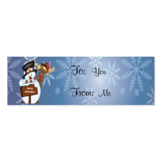 Merry Christmas Sign with Snowman and Reindeer Pack Of Skinny Business Cards