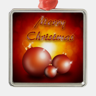 merry christmas Silver-Colored square decoration
