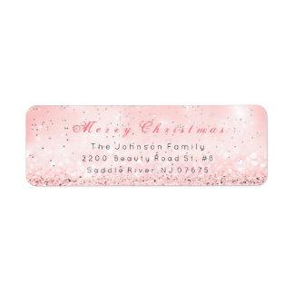 Merry Christmas Silver Confetti Pink Rose Glitter Return Address Label