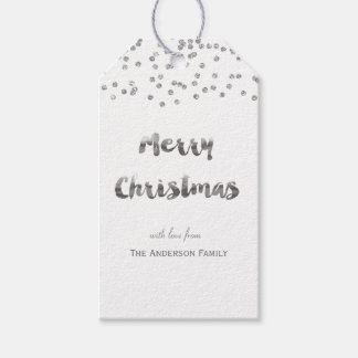 Merry Christmas silver glitter gift tags