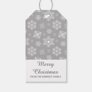 Merry Christmas Silver Gray Snowflakes Gift Tags