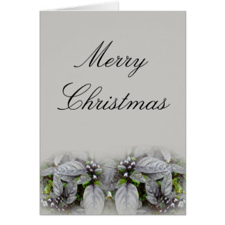 Merry Christmas Silver Leaves and Berries Card